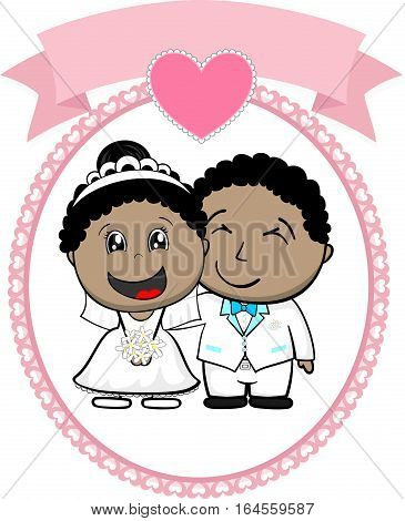 cartoon illustration of afroamerican bride and groom with white suit on round frame whit heart and empty banner isolated on white background ideal for funny wedding invitation