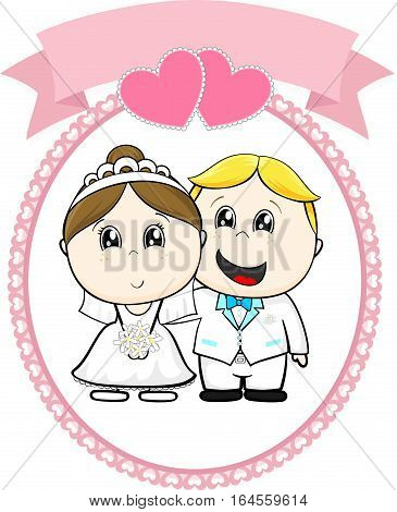 cute bride and groom with white suit on round frame whit hearts and empty banner isolated on white background