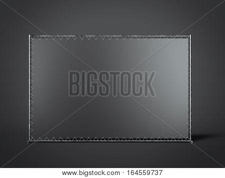 Black blank advertising stand in the modern studio. 3d rendering
