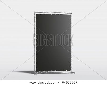 Black vertical blank advertising stand in the modern studio. 3d rendering