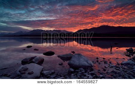 The Sunrise at Lake Tekapo New Zealand