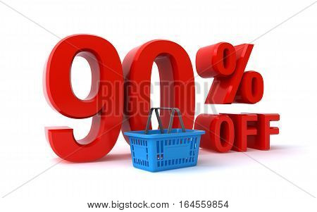 90 percent off sign with a shopping basket (3d rendering)