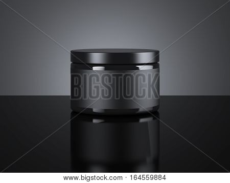 Black blank cream package on a dark background. 3d rendering