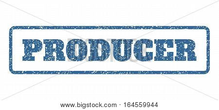 Cobalt Blue rubber seal stamp with Producer text. Vector caption inside rounded rectangular banner. Grunge design and unclean texture for watermark labels. Horisontal sticker on a white background.