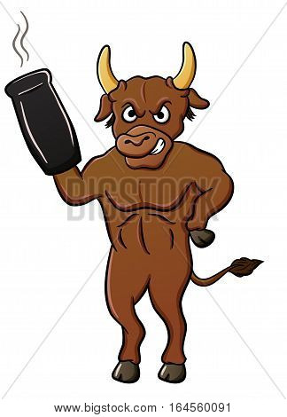 Cartoon illustration of a bull with cannon weapon. Vector character.