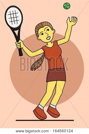 Cartoon young girl playing tennis. Vector illustration.