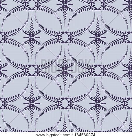 Religion seamless pattern. Laurel wreath, lace view texture with cross. Ceremonial, funeral background. Swirl stylized ornament. Purple, violet-blue, gray colored. Vector