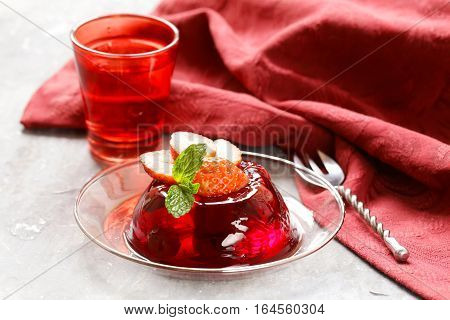 berry fruit jelly with fresh fruits - summer dessert