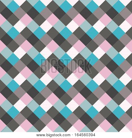 Seamless geometric checked pattern. Diagonal square, braiding, woven line background. Patchwork, rhombus, staggered texture. Blue, gray, lilac colors. Winter theme. Vector