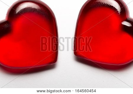 Valentine's day two red hearts on white background