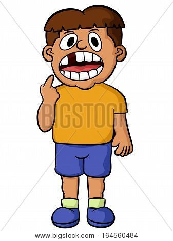 Cartoon illustration of a boy showing his missing tooth. Vector character.