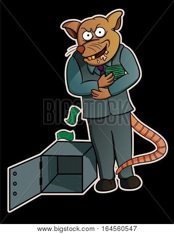 Cartoon illustration of a corrupt rat stealing money from safes
