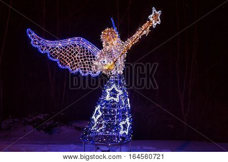 Electric sculpture of angel as Christmas decorations in Tatranska Lomnica. Slovakia.