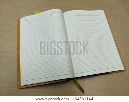 the one notebook on the table meeting room