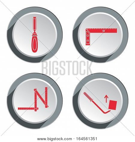 Measuring instrument, zigzag folding rule, chisel, angle, pinchbar icon. Repair, fix, control, measure, building tool symbol. Round circle red and gray button with shadow. Flat design. Vector