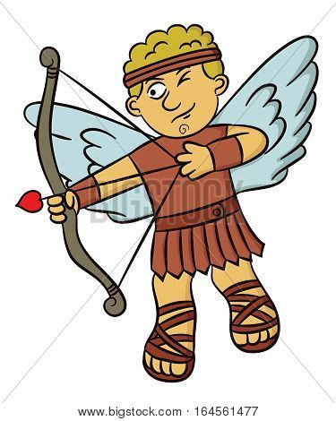 Cartoon illustration of a cupid angel aiming with bow and arrow