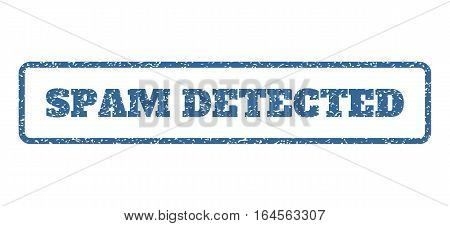 Cobalt Blue rubber seal stamp with Spam Detected text. Vector tag inside rounded rectangular shape. Grunge design and scratched texture for watermark labels. Horisontal sign on a white background.