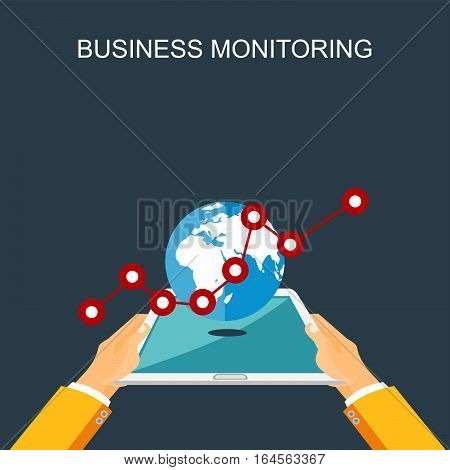 Business monitoring concept illustration. Business and statistics illustration flat designs. business growth and statistics analysis concept illustration on gadget screen.