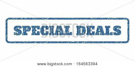 Cobalt Blue rubber seal stamp with Special Deals text. Vector tag inside rounded rectangular frame. Grunge design and scratched texture for watermark labels. Horisontal sticker on a white background.