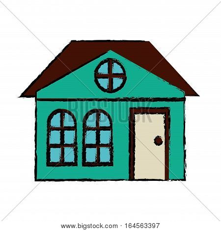 drawing house family architectural suburban vector illustration eps 10