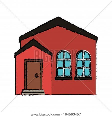 drawing pink home real state expensive american modern vector illustration eps 10