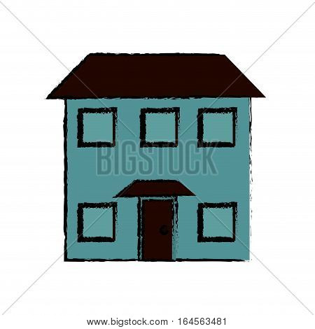 drawing house real state two story vector illustration eps 10