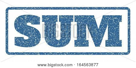 Cobalt Blue rubber seal stamp with Sum text. Vector tag inside rounded rectangular frame. Grunge design and dust texture for watermark labels. Horisontal sticker on a white background.