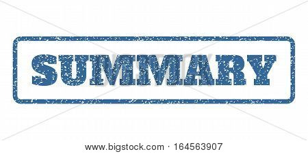 Cobalt Blue rubber seal stamp with Summary text. Vector caption inside rounded rectangular shape. Grunge design and dirty texture for watermark labels. Horisontal sign on a white background.