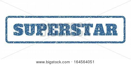 Cobalt Blue rubber seal stamp with Superstar text. Vector tag inside rounded rectangular frame. Grunge design and dirty texture for watermark labels. Horisontal sign on a white background.