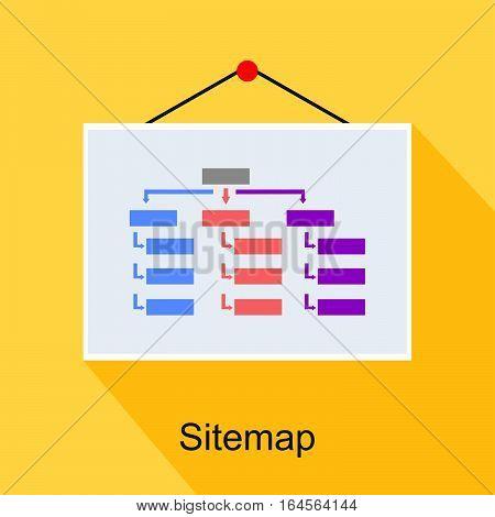 Sitemap diagram or structure concept illustration. flat design.