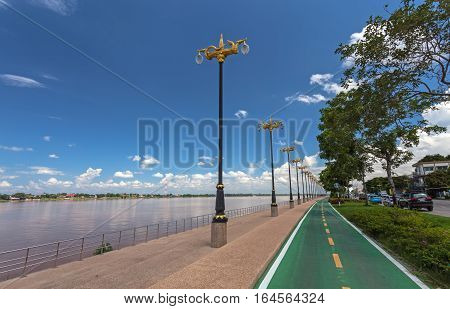 Beautiful bicycle road sign in the curve road near Mekong river. Nakhon Phanom ProvinceThailand