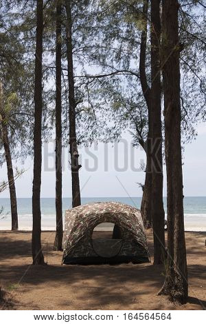 The tent on the seafront of Thailand