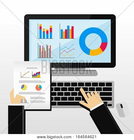 Businessman working with desktop. Business analysis and evaluation concept illustration. Flat design illustration concepts for business growth management analysis business statistics.