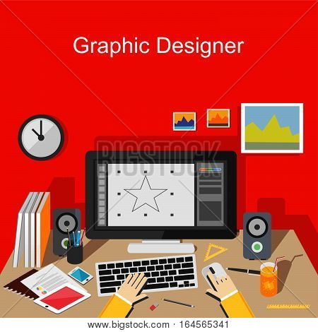 Graphic designer working on computer. Work place for designer illustration