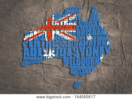 Map of Australia made from cities list. Textured by national flag. Grunge textured backdrop