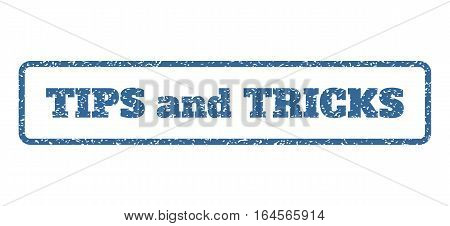 Cobalt Blue rubber seal stamp with Tips and Tricks text. Vector tag inside rounded rectangular shape. Grunge design and dirty texture for watermark labels. Horisontal sign on a white background.