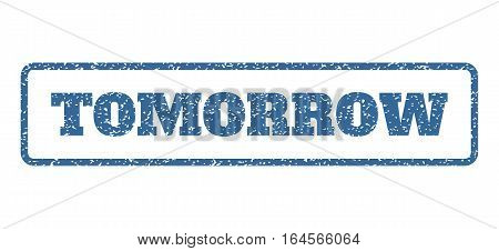 Cobalt Blue rubber seal stamp with Tomorrow text. Vector tag inside rounded rectangular frame. Grunge design and dust texture for watermark labels. Horisontal sign on a white background.