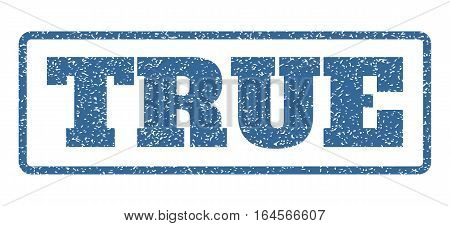 Cobalt Blue rubber seal stamp with True text. Vector tag inside rounded rectangular banner. Grunge design and unclean texture for watermark labels. Horisontal emblem on a white background.