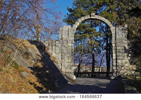 Stony Arch At The Entrance Of The