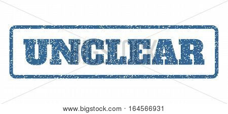 Cobalt Blue rubber seal stamp with Unclear text. Vector tag inside rounded rectangular banner. Grunge design and dirty texture for watermark labels. Horisontal sign on a white background.