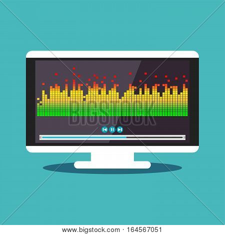 Illustration concept for music player or media player. Entertainment media