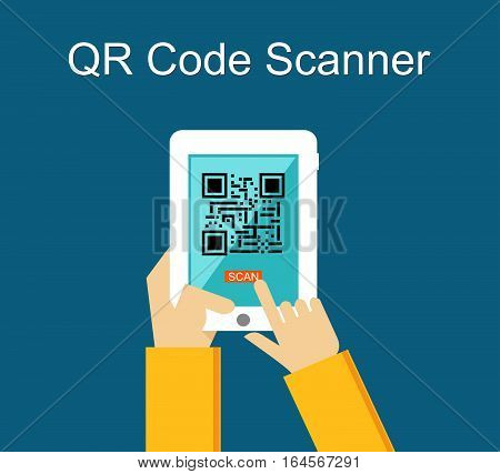 Mobile phone as Qr code scanner concept illustration. Mobility technology background