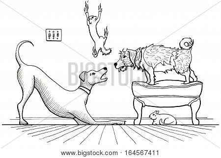 Animal House: Illustration of two dogs playing loudly while one cat hides, and another cat scatters and slides down the wall.