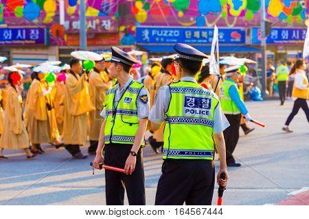 Korean Police Uniform Backs Street Protest