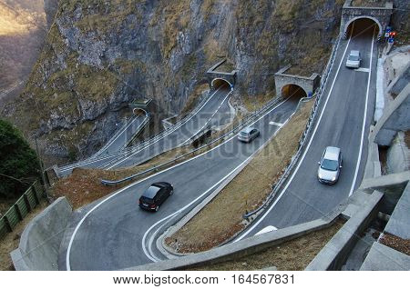The Curvy And Dangerous Road Of San Boldo Pass.