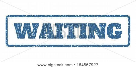 Cobalt Blue rubber seal stamp with Waiting text. Vector tag inside rounded rectangular banner. Grunge design and dust texture for watermark labels. Horisontal sign on a white background.