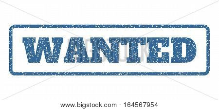 Cobalt Blue rubber seal stamp with Wanted text. Vector message inside rounded rectangular shape. Grunge design and dust texture for watermark labels. Horisontal sticker on a white background.