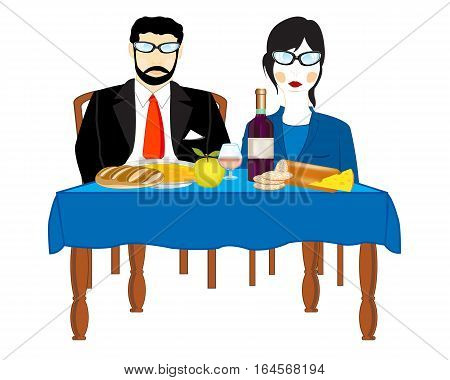 Man and woman sit for covered by table on white background