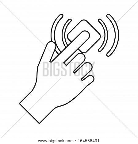 hand touch button wifi graphic line vector illustration eps 10