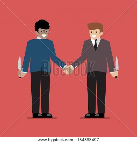 Businessmen hiding the knife for Betrayal or back stab of business partner. Business concept
